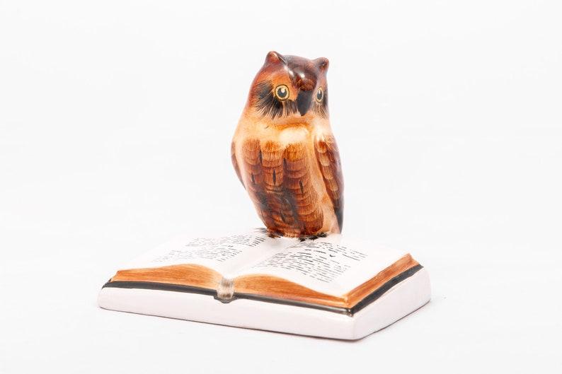 Wise owl   Vintage Bodrogkeresztur ceramic  Bird on book  image 0