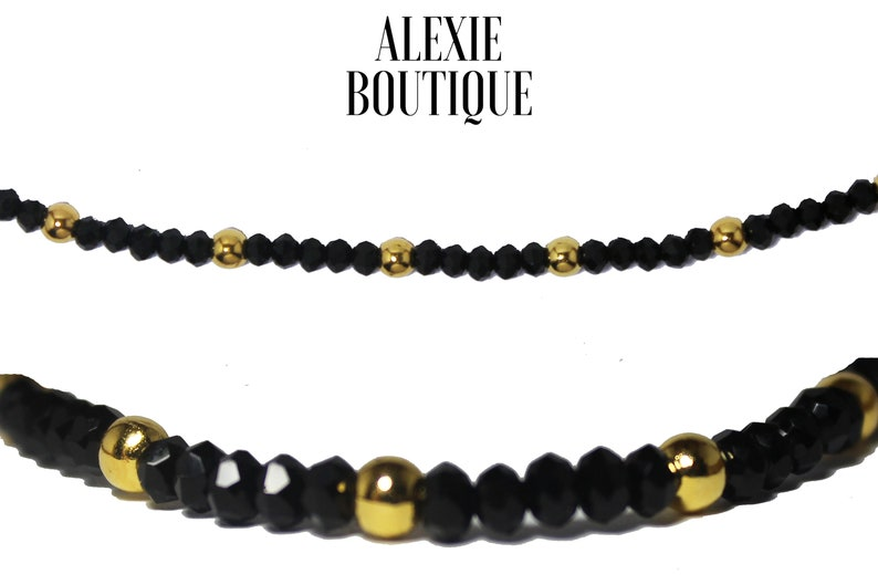 Black crystal with gold beads Anklet