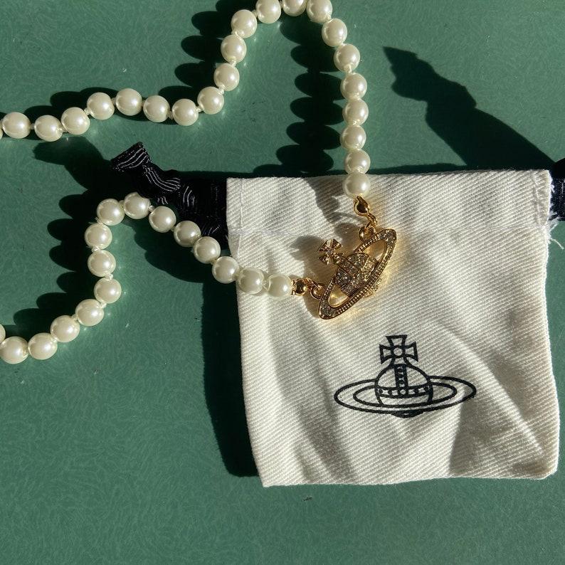 金沙浮雕土星珍珠项链
