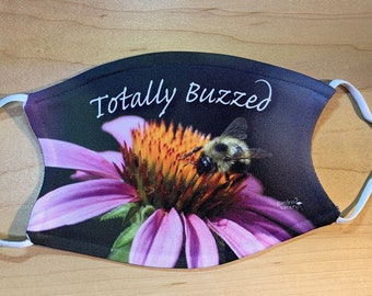 Reusable Face Mask with Filter Pocket -Adjustable, 2 Layers, Polyester Front, Cotton Back, 2 Filters Included, Adult Size, Bee on Coneflower