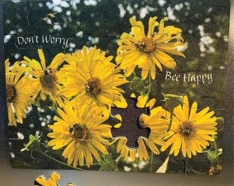 """Refrigerator Puzzle Magnet - 30 piece, Bumble Bees on Cup Plant, """"Don't Worry Bee Happy"""""""