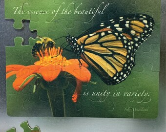 """Refrigerator Puzzle Magnet - 30 piece, Monarch Butterfly & Bumble Bee on Sunflower, text """"The essence of the beautiful is unity in variety"""""""