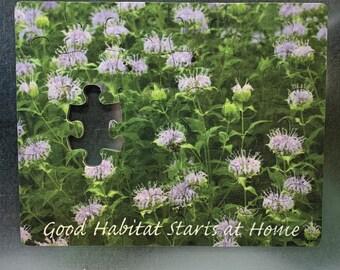 "Refrigerator Puzzle Magnet - 30 piece, Bumble Bees on Wild Bergamot, ""Good Habitat Starts at Home"""