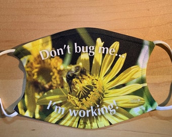 Reusable Face Mask with Filter Pocket - Adjustable, 2 Layers, Polyester Front, Cotton Back, 2 Filters Included, Adult Size, Bumble Bee