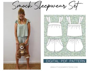 Women's Summer Sleepwear Pj Set, Ladies Downloadable Printable PDF Sewing Pattern Size XS-XL | A4, U.S Letter, A0 |