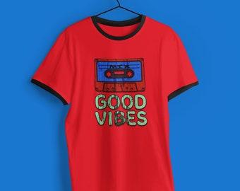 Good Vibes Vintage Grunge Style 80s 90s Unisex Ringer Tee