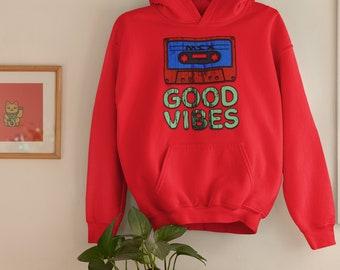 Good Vibes Distressed Grunge Vintage Graphic Pullover Hoodie