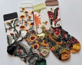 Vintage Floral Mesh Fishnet Socks Womens,Ultra Thin Socks Women Girls Transparent Elastic Silk Socks,Sheer Crew Socks