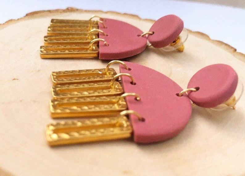 Statement Arch Tassel Earrings Dangle Handmade Dusty Pink Polymer Clay Boho Gold Tassels Semicircle Modern Mauve Bars