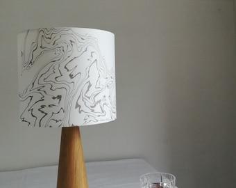 Hand marbled suminagashi lampshade (20cm diameter)
