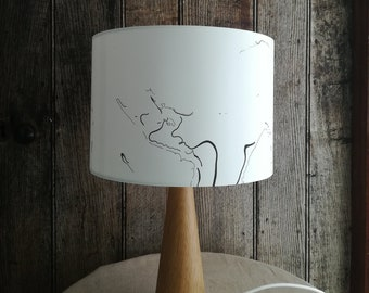 Hand marbled suminagashi lampshade (30cm diameter)