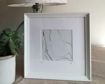 Suminagashi monoprint framed.