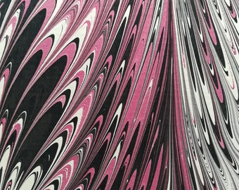 Maroon and black 'git gel' patterned hand marbled paper, perfect for bookbinding