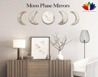 BestSeller Moon Mirror Interior Design Hanging Wall Moon Phase Mirror Set Home Decor Glass Bridesmaid Wedding Reiki Gift DivinationAstrology