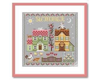 Summer Sampler Cross Stitch Pattern PDF, Summer Primitive Embroidery, Instant Download PDF, Summer Season Stitching, modern folk embroidery
