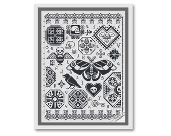 Halloween skull sampler, Cross Stitch Pattern PDF, Halloween stitching, Instant Download PDF, modern folk embroidery, skull