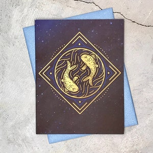 thank you cards Capricorn Zodiac note cards- 12 card box set- astrology high-end blank greeting cards birthday card metallic envelopes
