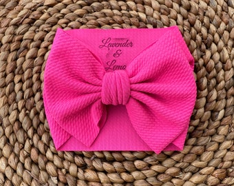 HOT PINK Double Bow Headband 6 months to 8 years