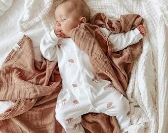 Baby Sleepsuit in Mushroom Print | Hand Printed| Unisex Baby Clothes| Organic Cotton| Organic Babygrow | Organic sleepsuit | Baby gift |