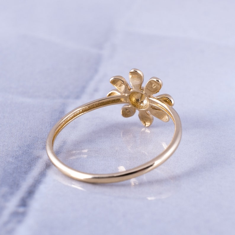 Yellow and White Gold Daisy Stacking Ring Minimalist Daisy Ring Dainty Jewelry SHIPS NEXT DAY 14K Solid Gold Flower Ring Gift for Her