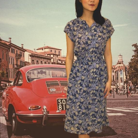 Vintage Dark Blue Floral Dress