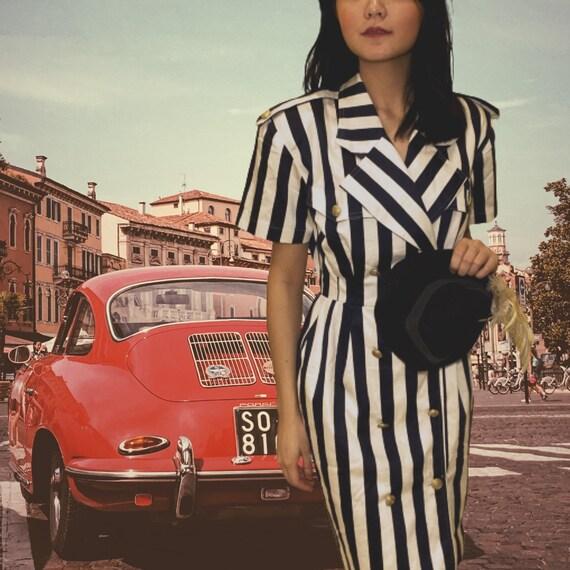 Vintage Sailor Striped Pencil Dress