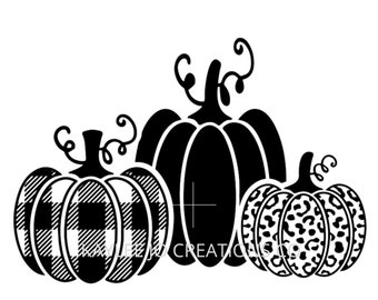 Three pumpkins SVG   Buffalo Plaid Cheetah SVG   Fall SVG   Pumpkin svg