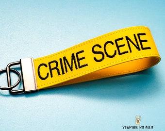 Crime Scene Keyfob, Crime Junkie Key Fob, Feyfob Wristlet, True Crime Gift, True Crime Wristlet