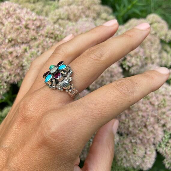 Estate Flower Gemstone Ring - image 6