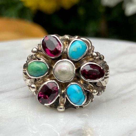 Estate Flower Gemstone Ring