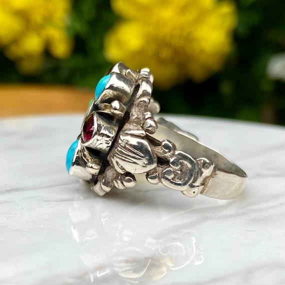 Estate Flower Gemstone Ring - image 3