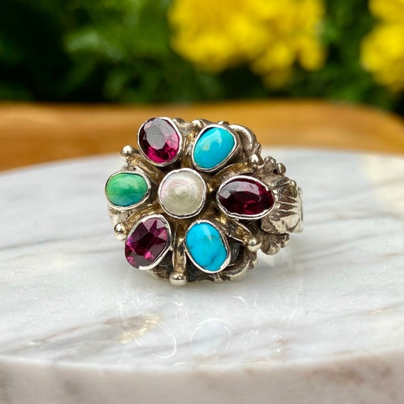 Estate Flower Gemstone Ring - image 2