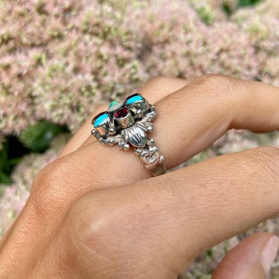 Estate Flower Gemstone Ring - image 4