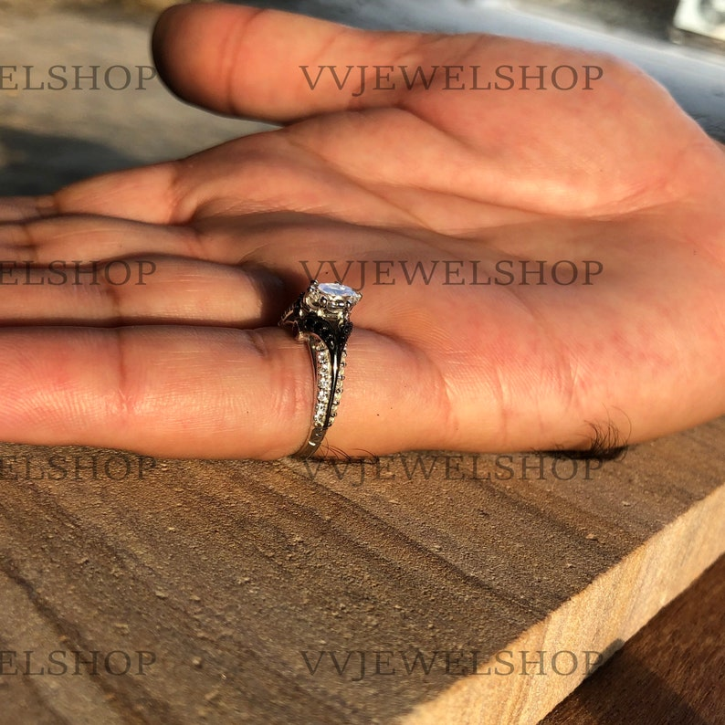 Enchanted Disney Villains Evil Queen 1.80CT Oval Diamond Engagement Ring in 14K White Gold with Black Rhodium Over 925 Sterling Silver 5541