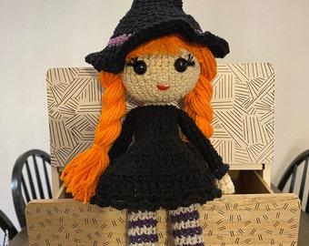 Adorable Crochet Witch Doll, Gift, Handmade, Crochet, Halloween Decor, Collectable, Fall Decor, Halloween Present, Toy