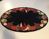 Fall pumpkin wool penny rug