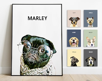Pet Portrait Custom and Personalized. Pet Dog Wall Art DIGITAL DOWNLOAD to Print on Poster or Canvas for gift.