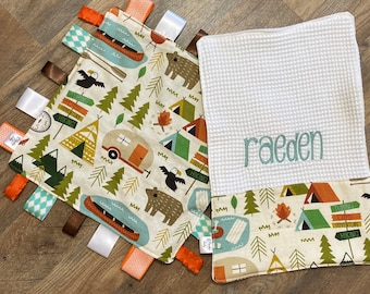 Personalized Camping theme baby blanket & burp cloth gift set