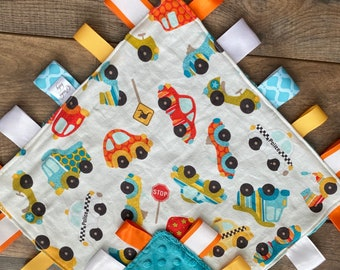 Personalized Zoom Zoom Automobiles baby blanket and burp cloth gift set