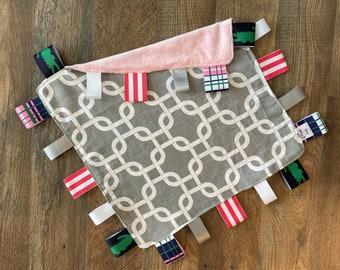 Personalized Grey/white lattice themed, preppy, baby blanket, security blanket