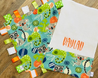 Personalized jungle themed baby blanket and burp cloth gift set