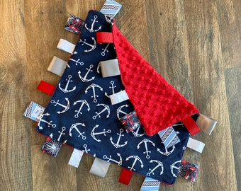 Personalized Nautical anchors baby blanket, sensory toy, lovey