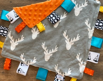 Personalized Woodland deer themed baby blanket, sensory toy, lovey