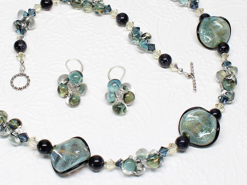 Boro /& Dichroic Glass Bracelet Blue Goldstone Gemstone TROPICAL RAIN FOREST Necklace Earrings or 3-Piece Jewelry Set Sterling Silver