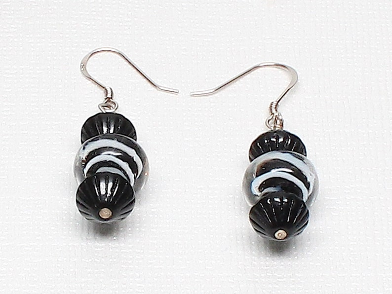 Statement Jewelry White Boro Glass Czech Glass Sterling Silver Black Chunky ZEALOUS ZEBRA Necklace and Earring Set African Safari