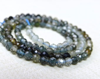 AAA Shaded Moss Aquamarine Faceted Rondelle Beads 13inch strand  Aquamarine stone  Aquamarine Beads 3-4mm