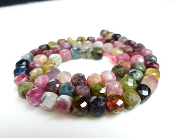 Multi tourmaline faceted 3D cube beads with the most beautiful colors --5mm~~7.5 Inches