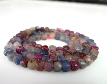 All Natural Sapphire and ruby faceted 3D cube beads --7.5 Inches~~4mm
