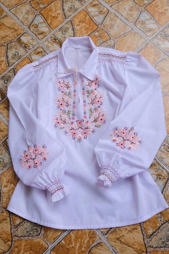 Vintage hand embroidered shirts Hand work shirt