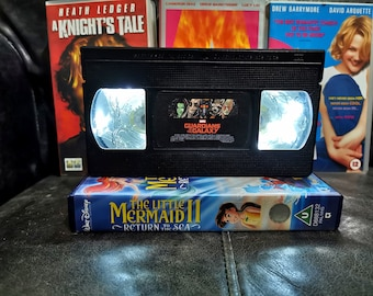 Upcycled Retro VHS Guardians of the Galaxy Night Light Table Lamp. Marvel Comic Book Superhero Movies. Multiple Designs Available. Gift.